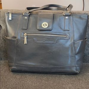 Kelly Moore Esther Camera Diaper Bag Gray Leather